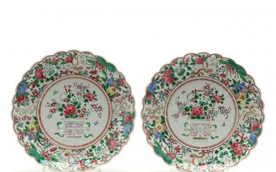 Pair of Chinese Porcelain Famille Rose Plates with