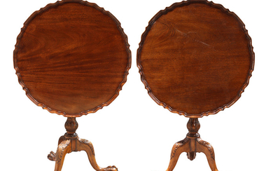 Pair of Chippendale style mahogany tea tables
