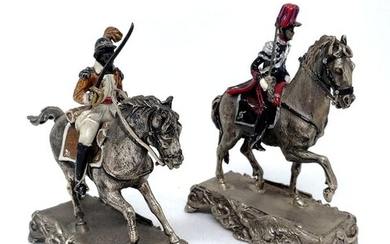 Pair of European Military Sculptures (2) - .800 silver, Glazes - Italy - Second half 20th century