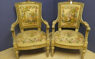 Pair of French C19th giltwood carved & painted fauteuils wit...