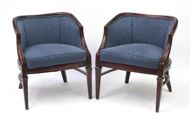 Pair of French style mahogany framed tub chairs with