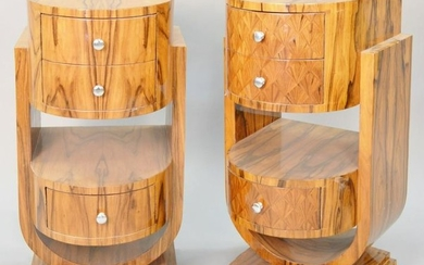 """Pair of Modern/Deco style nightstands, 35"""" h. , 18"""" w."""