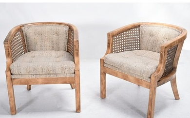Pair of Provincial Bleached Mahogany Bucket Chairs