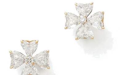 Pair of yellow gold (750) ear chips featuring...