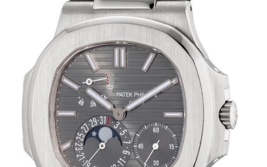 Patek Philippe, Ref. 5712G-001 A fine and rare white gold wristwatch with small seconds, date, moon phases, power reserve indication, Certificate of Origin and presentation box
