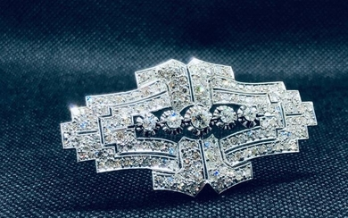 Platinum - Brooch - 0.33 ct Diamond - Diamonds