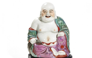 Polychrome porcelain Budai mounted as a lamp China, 20th Century