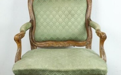 Queen's armchair, with frame, in moulded and carved wood.