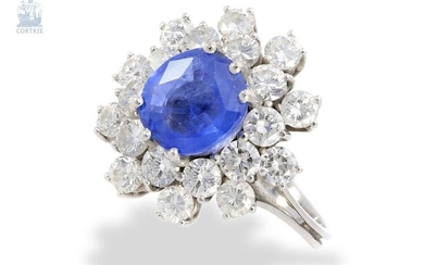 Ring: high quality vintage sapphire/brilliant lady's ring, ca. 4,7ct