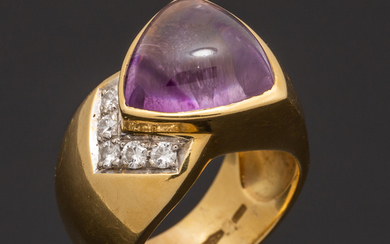 Ring with amethyst, brilliant cut diamonds, 750 gold