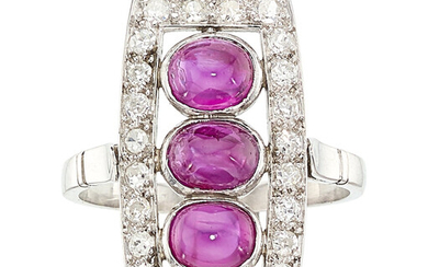 Ruby, Diamond, Platinum Ring The ring features oval-shaped ruby...