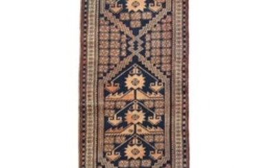 Runner and antique fragment, classic design on blue and red base. 20th century. 298×59 and 118×22 cm. (2)