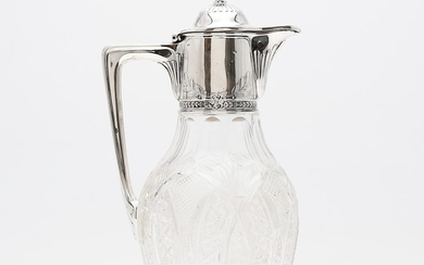 Russian jug in carved crystal with silver mount, early 20th Century.
