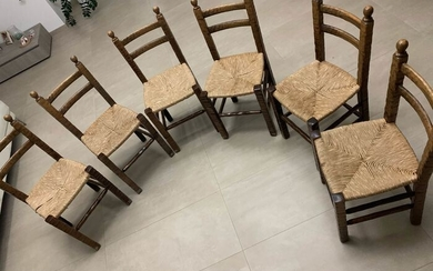 Seating group, 95 solid wood chairs and straw seats - Wood