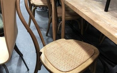 Set of 6 Natural Finish Stackable Dining Chairs