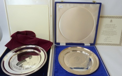 Seven silver Royal Commemorative ltd. ed. dishes, some after...
