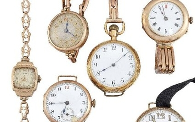 Seven various gold wristwatches, comprising: a late...