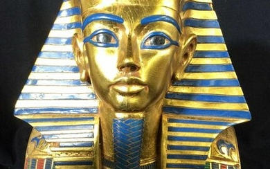 Signed AGI Collectible Gold Leaf Pharaoh Head Bust