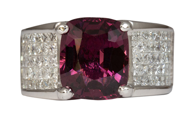 Spinel, diamond, 14k white gold ring