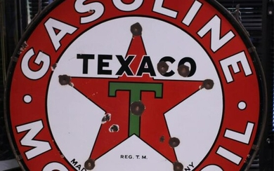 TEXACO EARLY PORCELAIN DOUBLE SIDED SIGN