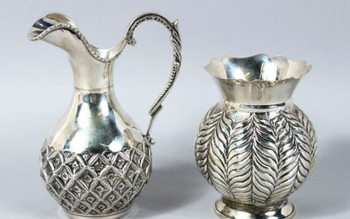 TWO 19TH CENTURY SOUTH EAST ASIAN SOLID SILVER JUG &