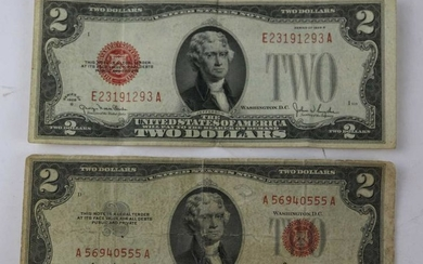 TWO $2 UNITED STATES RED NOTES