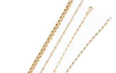 TWO 9CT GOLD BRACELETS AND ANKLET; in various curb links with bolt ring and parrot clasps, lengths 26, 20 & 18cm, wt. 9.39g.