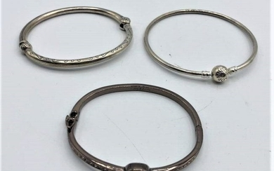 Three Assorted Bangle Bracelets: 2 Sterling 1 Givenchy