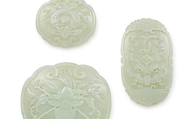 Three Celadon Jade Plaques, Qing Dynasty, 19th century