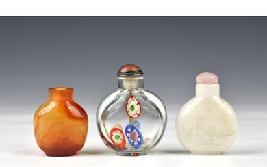Three Chinese glass snuff bottles, probably early 20th centu...