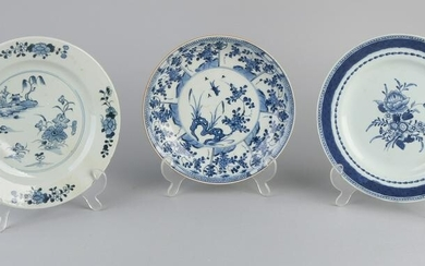 Three various antique Chinese porcelain plates. 18th