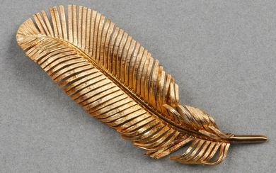 Tiffany & Co. 14K Yellow Gold Feather Brooch Pin