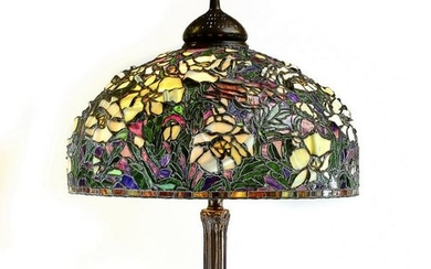 """Tiffany style floral mosaic glass floor lamp, 79""""h"""