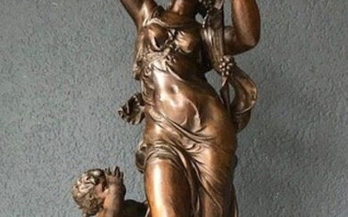 """Toegeschreven aan Hippolyte Moreau (1832 - 1927) - large sculpture group """"Bacchante and putto"""" - 54 cm"""
