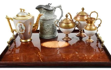 Tray with Four Assembled Service Pieces; Pitcher