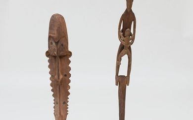 Two Oceanic Carved Wood Figural Items on Stands