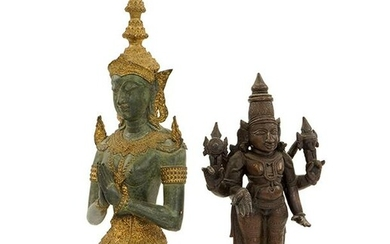 Two Patinated Bronze Buddha Figures.