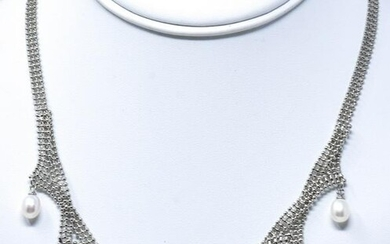 Two Tone Baroque White & Tahitian Pearl Necklace