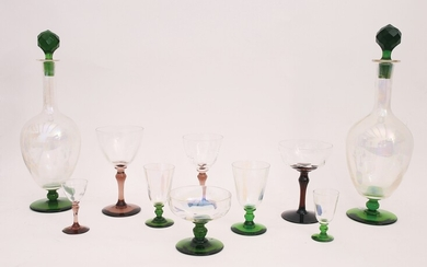 Two blown glass glasses services