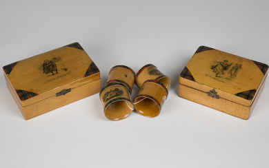 Two late Victorian Mauchline tartanware boxes, both bearing Eugène Rimmel perfumier labels to u