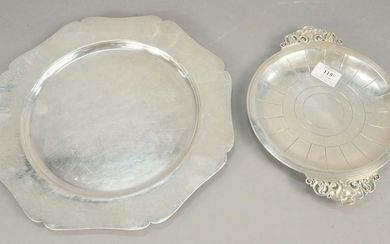 Two piece lot, hand hammered sterling silver tray along