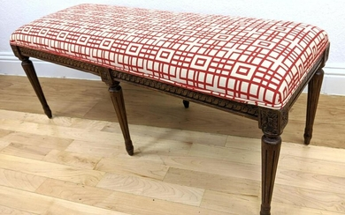 Upholstered Carved Wood Bench Seat. Tapered carved legs