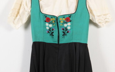 VINTAGE GREEN AND BLACK DIRNDLE WITH WHITE COTTON BLOUSE, size...