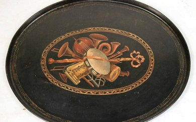 Victorian Instrument-Decorated Papier Mache Tray
