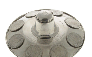 Victorian Sterling Silver Coin Set Inkwell, London, England, 1878.