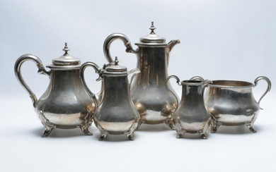 Victorian Sterling Silver Five Piece Tea and Coffee Service, London c1860 By Arthur Sibley, total weight 2.18kg