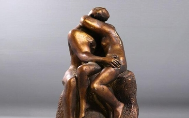 Vintage Embracing Lovers Sculpture in Bronzed Finish