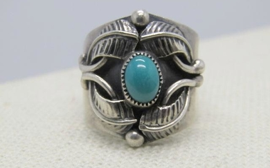 Vintage Sterling Navajo Turquoise Ring, signed Francis