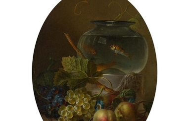 WILLEM VAN LEEN (DUTCH 1753 - 1825) STILL LIFE WITH A GOLDFISH BOWL