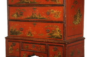 WILLIAM & MARY JAPANNED CHEST ON STAND
